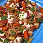 Roasted Vegetables with Chile Yogurt, Cilantro Mint Sauce and Salted Pepitas