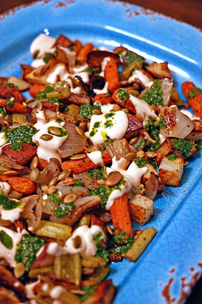 Roasted Vegetables with Chile Yogurt and Cilantro Mint Sauce7