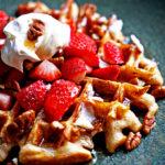 Whole Wheat Sourdough Waffles with Mascarpone Whipped Cream and Fruit