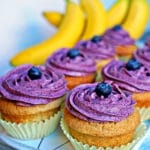 Brown Butter Banana Cupcakes with Blueberry Cream Cheese Frosting