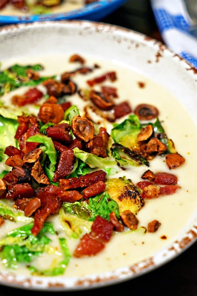Celery Root Soup with Pancetta, Brussels Sprouts and Toasted Hazelnuts1