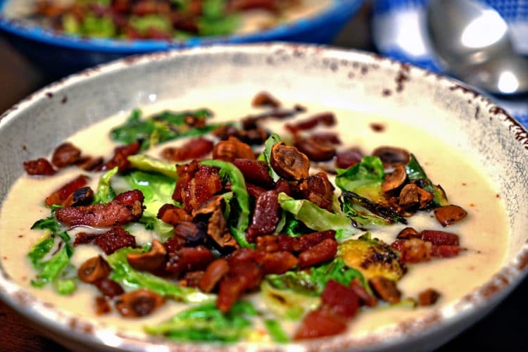 Celery Root Soup with Pancetta, Brussels Sprouts and Toasted Hazelnuts2