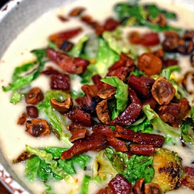 Celery Root Soup with Pancetta, Brussels Sprouts and Toasted Hazelnuts