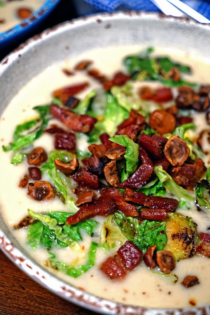Celery Root Soup with Pancetta, Brussels Sprouts and Toasted Hazelnuts7