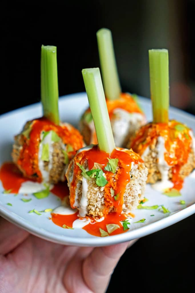 Crunchy Buffalo Chicken Meatballs with Bleu Cheese Drizzle1