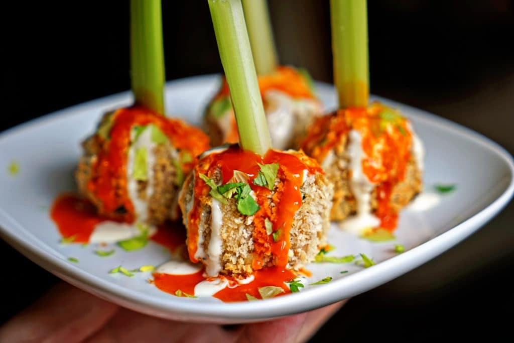 Crunchy Buffalo Chicken Meatballs with Bleu Cheese Drizzle2