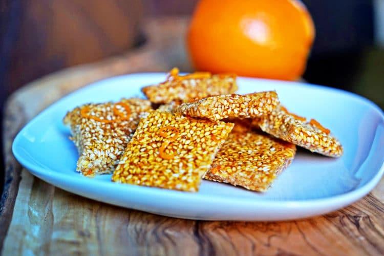Orange Sesame Seed Brittle (Simsemieh) - Kevin Is Cooking