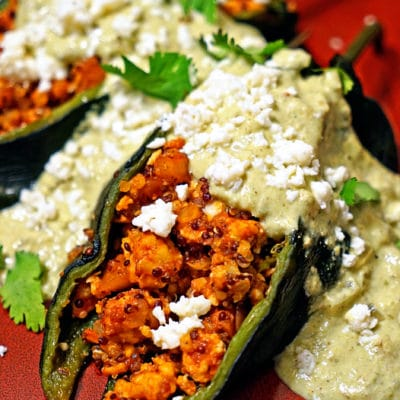 Quinoa Chicken Stuffed Poblano Chiles