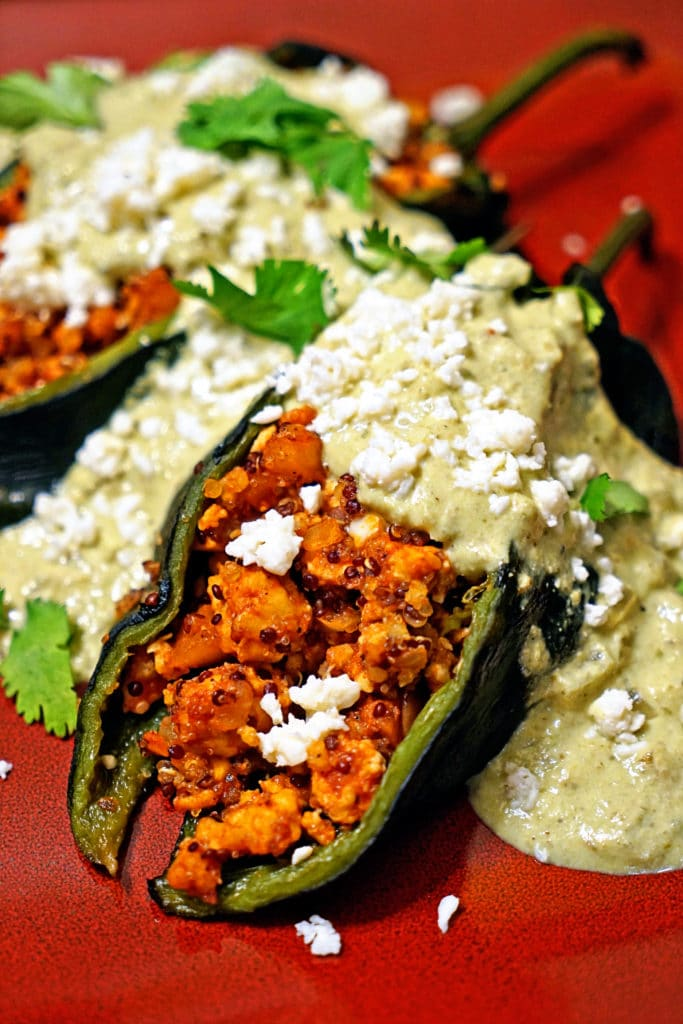 Quinoa Chicken Stuffed Poblano Chiles with Green Chile Cream Sauce1