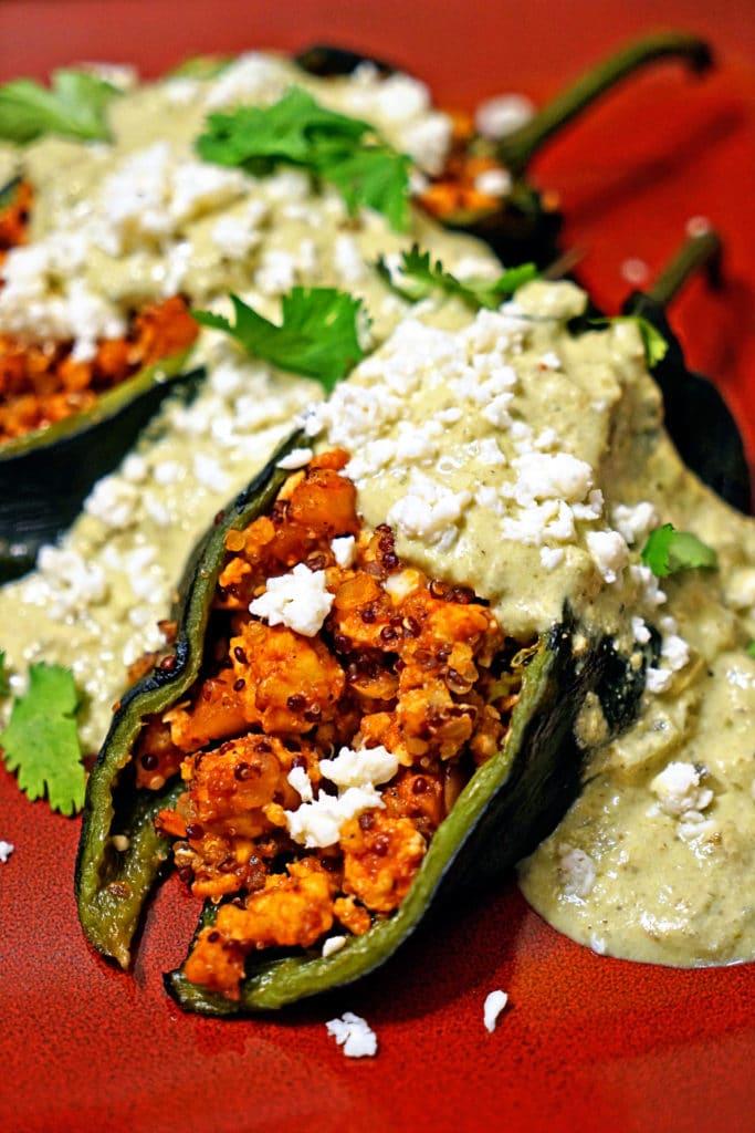 Quinoa Chicken Stuffed Poblano Chiles with Green Chile Cream Sauce1