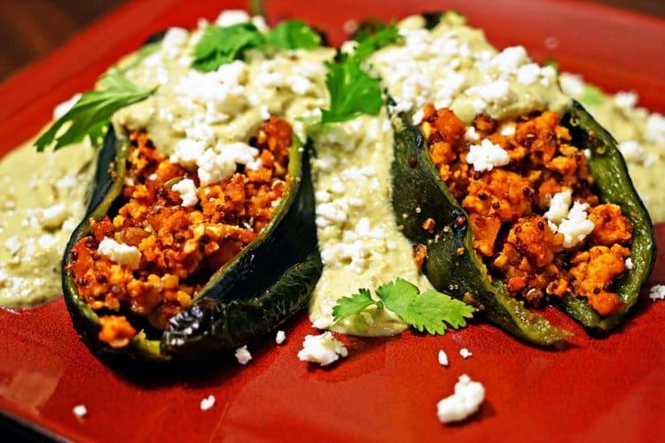 Quinoa Chicken Stuffed Poblano Chiles with Green Chile Cream Sauce2