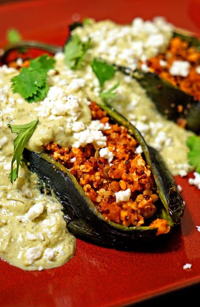 Quinoa Chicken Stuffed Poblano Chiles with Green Chile Cream Sauce7
