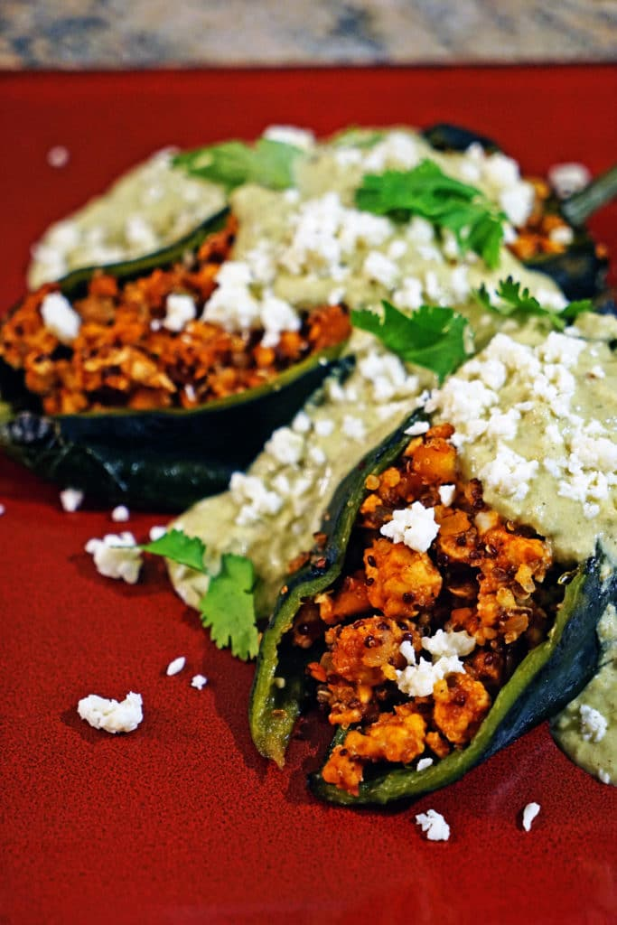 Quinoa Chicken Stuffed Poblano Chiles with Green Chile Cream Sauce8