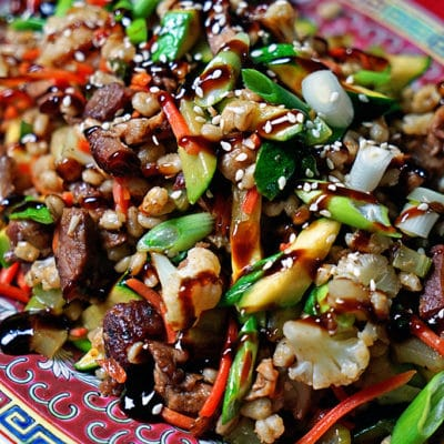 barley ribs stir fry on platter