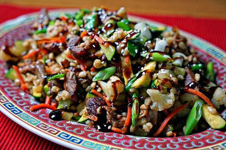 Barley Stir Fry with Baby Back Pork Ribs and Steamed Vegetables2