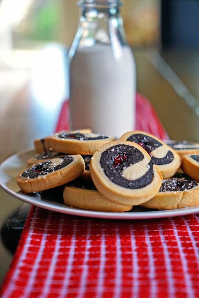 Dark Chocolate Cherry Pinwheel Shortbread Cookies1