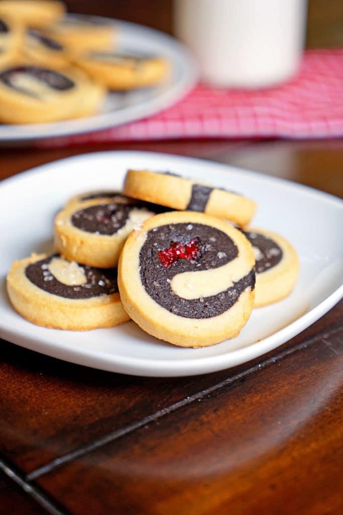Dark Chocolate Cherry Pinwheel Shortbread Cookies10