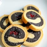 Dark Chocolate Cherry Pinwheel Shortbread Cookies