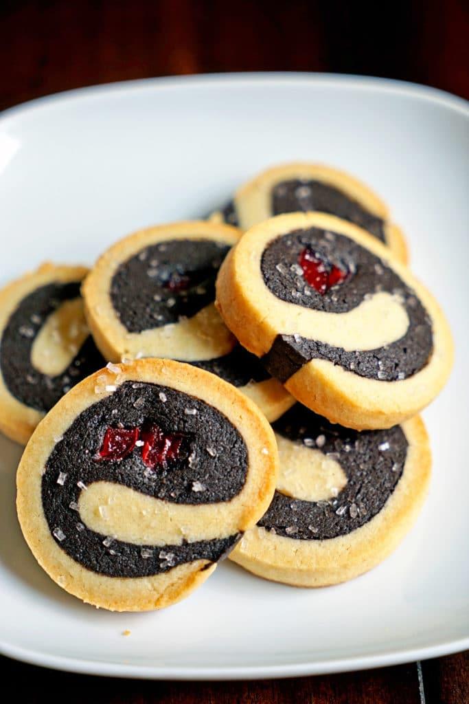 Dark Chocolate Cherry Pinwheel Shortbread Cookies11