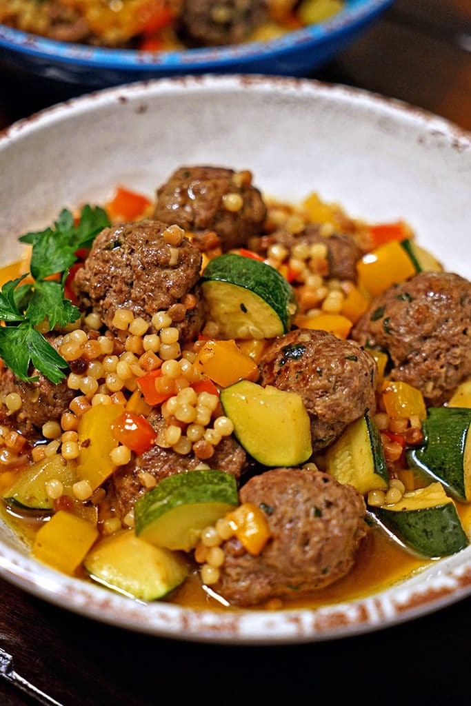 Moroccan Lamb Meatballs with Toasted Fregola1