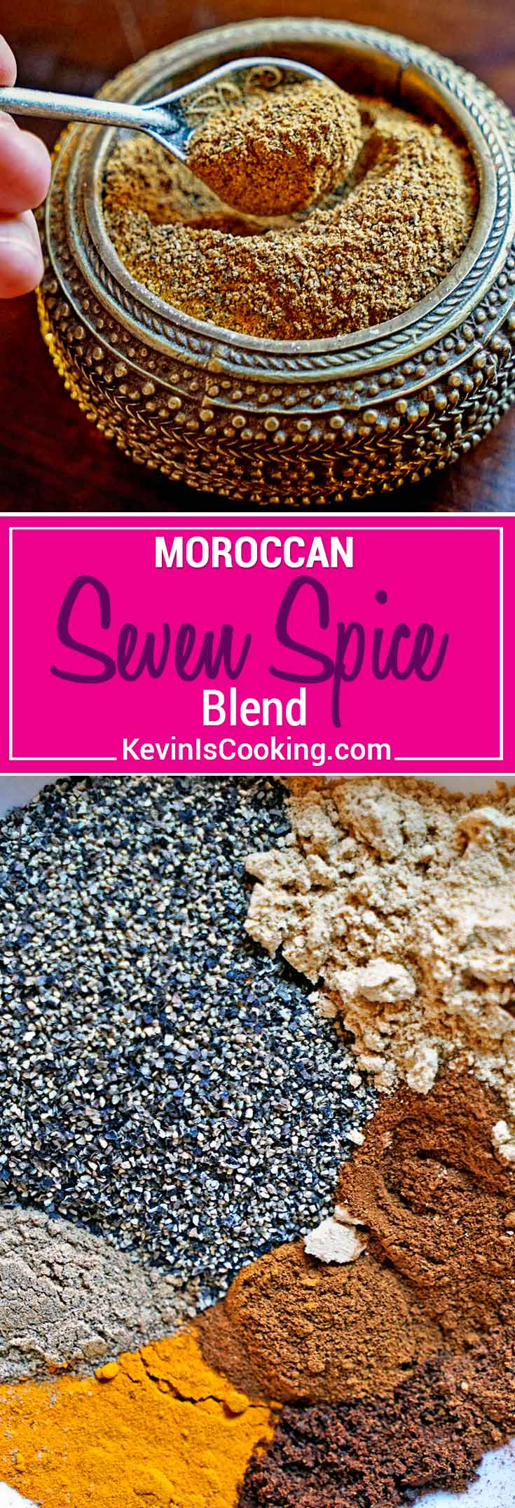 Moroccan Seven Spice Blend - a beautiful mixture of warm, ground spices that include black pepper, ginger, turmeric, cinnamon, cardamom, clove and nutmeg. An exotic and tasty blend for seasoning and dry rubs.