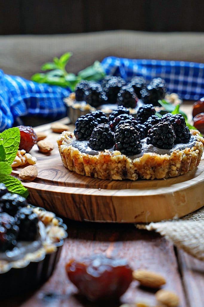 No Bake Blackberry Tarts with Cashew Cream7