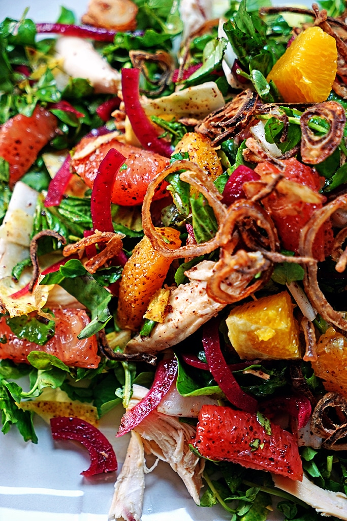 Pink Grapefruit and Chicken Watercress Salad with Crispy Shallots ...