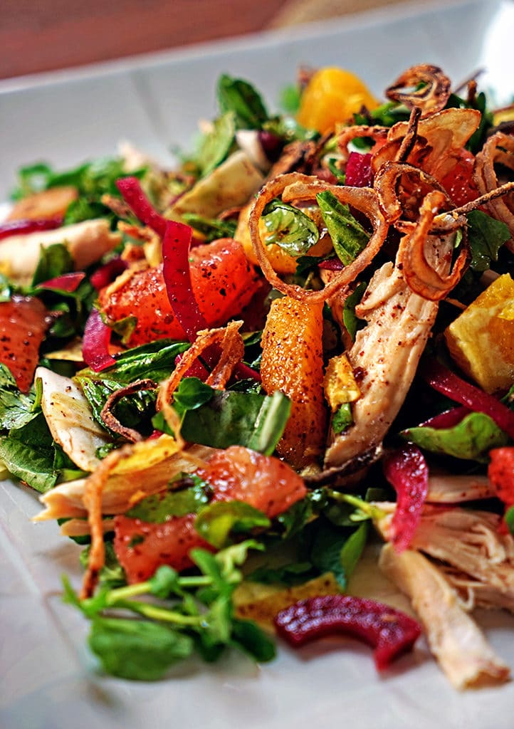Pink Grapefruit and Chicken Watercress Salad with Crispy Shallots4