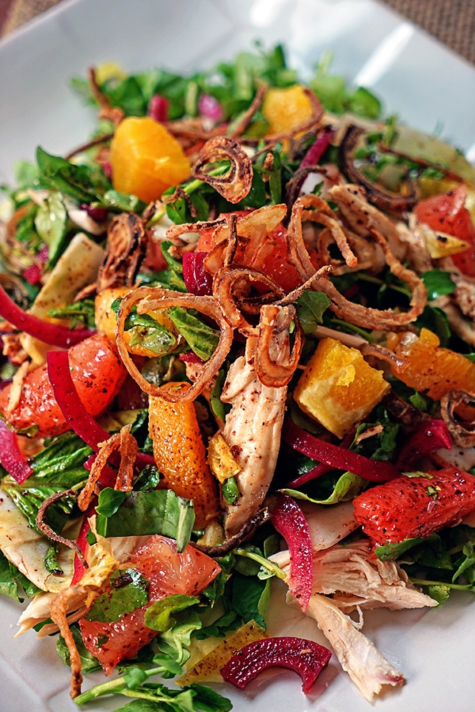 Pink Grapefruit and Chicken Watercress Salad with Crispy