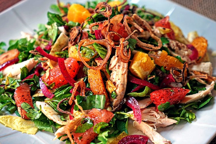 Pink Grapefruit and Chicken Watercress Salad with Crispy Shallots6