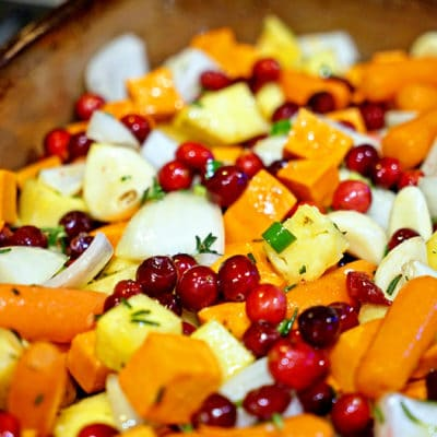 Roasted Cranberries, Sweet Potatoes and Pineapple
