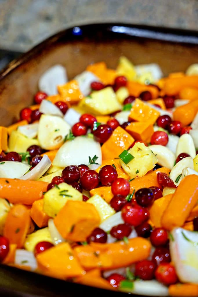 Roasted Sweet Potatoes, Cranberries and Pineapple with Serrano and Rosemary1