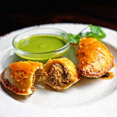 Shredded Beef Verde Empanadas with Blended Chimichurri