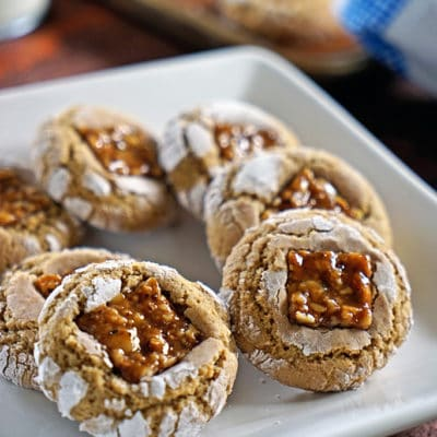 Brown Sugar Crinkle Cookies with Cinnamon Walnut Nougat
