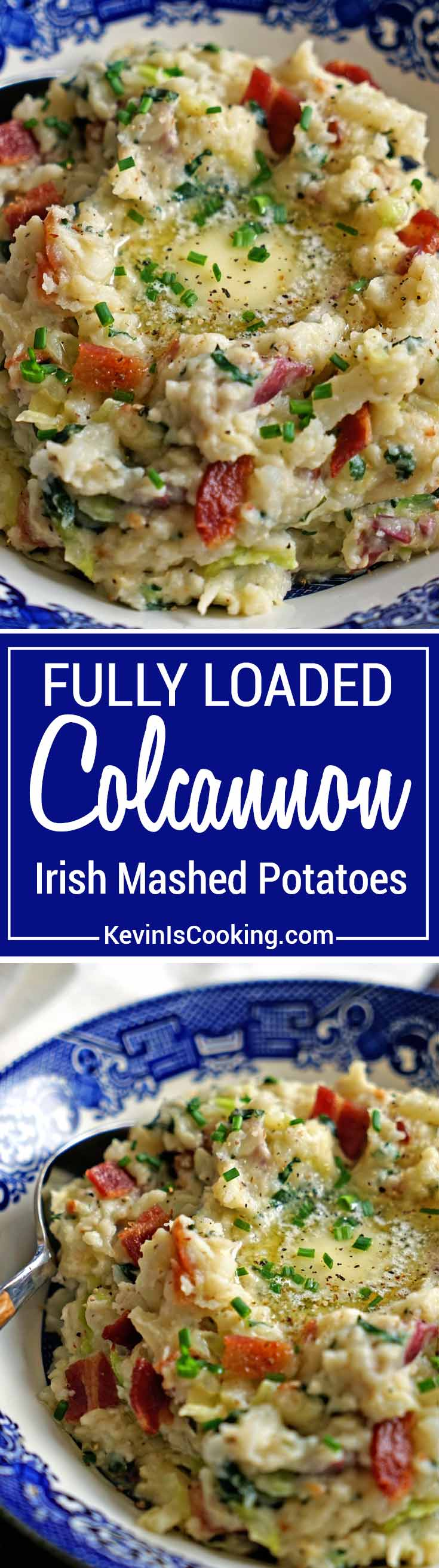 Colcannon Irish Mashed Potatoes - red potatoes, cream and garlic are mashed together with green cabbage and kale. Mine are topped with crisp bacon & butter!