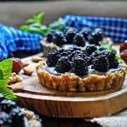 No Bake Blackberry Tarts with Cashew Cream. www.keviniscooking.com | These have no sugar added, are dairy and gluten free with a nut and date tart shell and a cashew cream filling. Sound good?