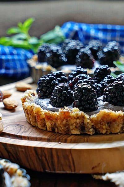 No Bake Blackberry Tarts with Cashew Cream