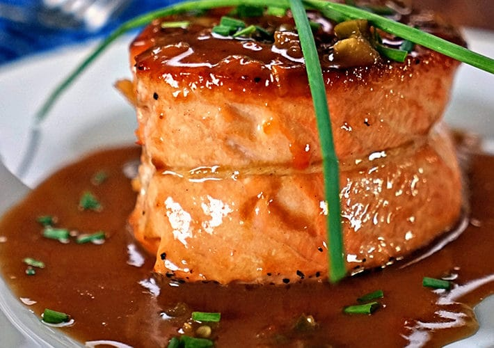 Pan Seared Salmon with Apricot Jalapeno Butter Sauce