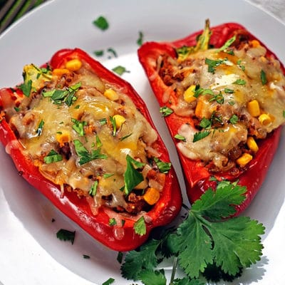A plate of food, with Chorizo stuffed Peppers