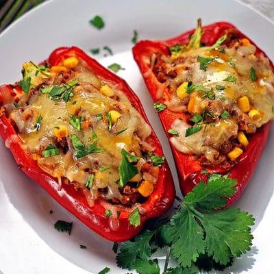 Quinoa Corn and Chorizo Stuffed Bell Peppers