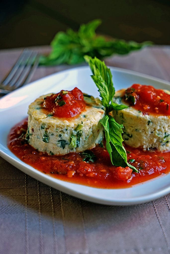 Slow Roasted Tomato and Spinach Polenta Cakes1