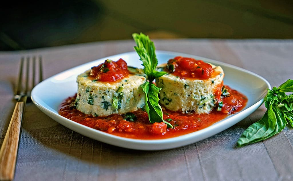 Slow Roasted Tomato and Spinach Polenta Cakes2