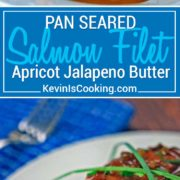 Pan Seared Salmon Filet with Apricot Jalapeno Butter Sauce - Pan seared salmon filets with a butter, balsamic, apricot preserve and jalapeno sauce.