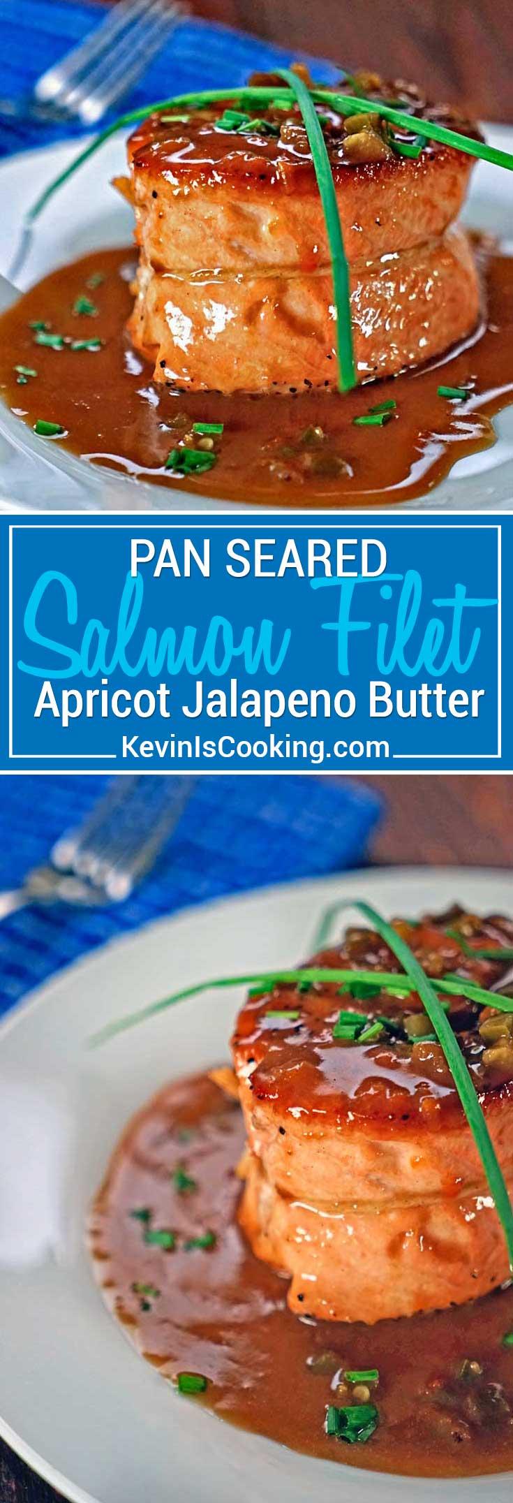 Pan Seared Salmon Filet with Apricot Jalapeno Butter Sauce - Pan seared salmon filets with a butter, balsamic, apricot preserve and jalapeno sauce.