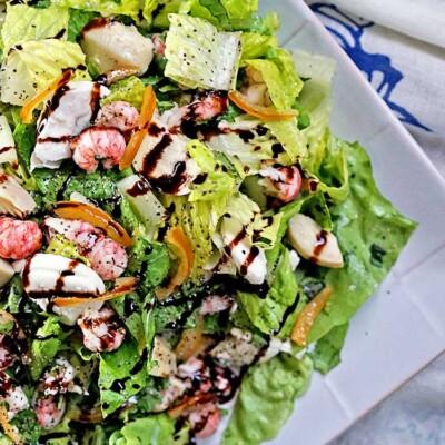 Langostino Artichoke and Mozzarella with Candied Lemon Salad