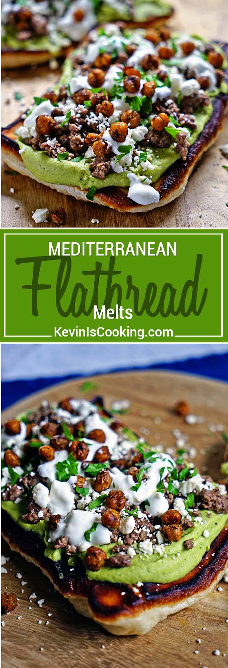 These Mediterranean Flatbread Melts are super easy, made with browned lamb, hummus and feta cheese and the flatbread is made with refrigerated pizza dough.