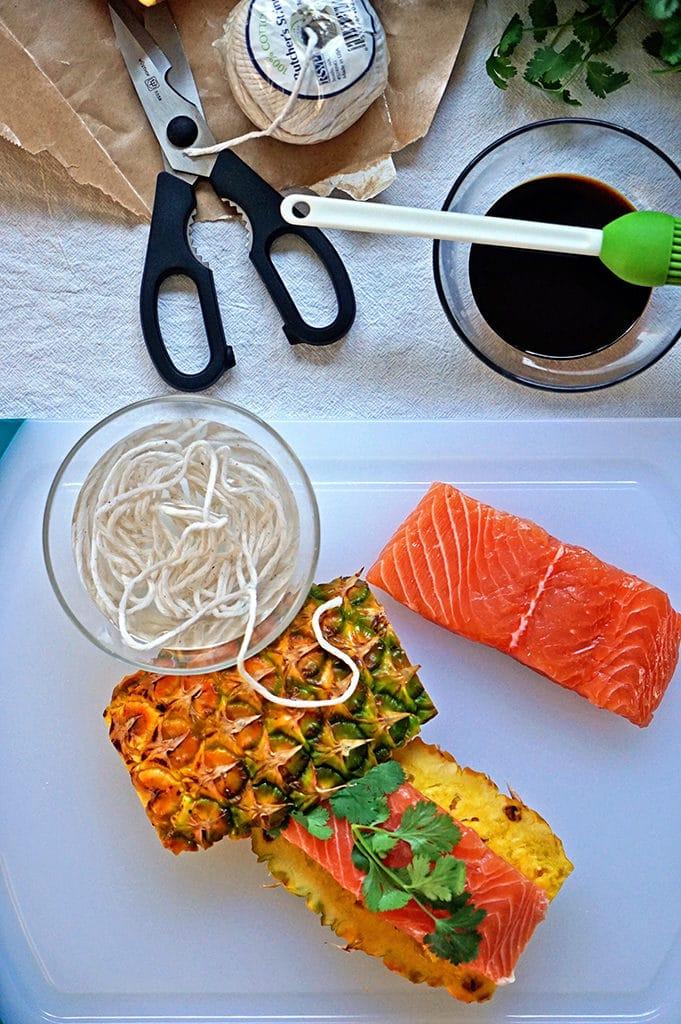 Teriyaki Glazed Grilled Salmon on Pineapple Planks - Keviniscooking.com