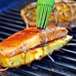 Teriyaki Glazed Grilled Salmon Pineapple Planks