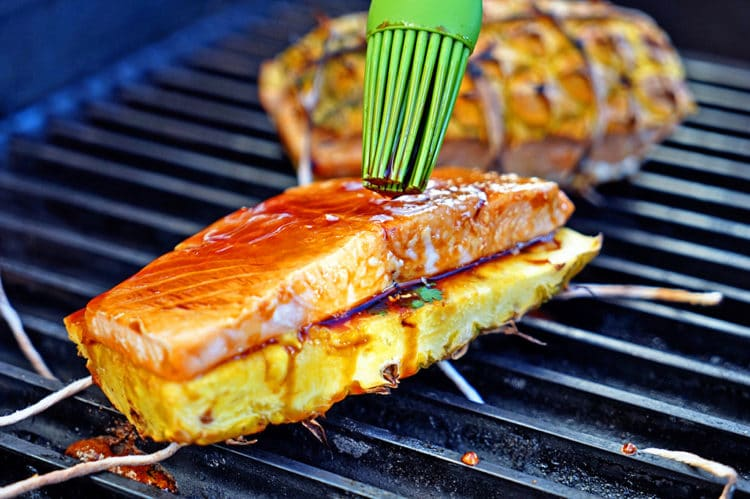 Teriyaki Glazed Grilled Salmon on Pineapple Planks - Keviniscooking ...