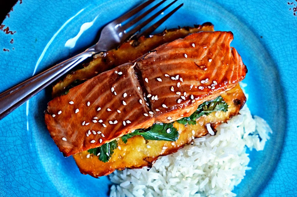 Teriyaki Glazed Grilled Salmon on Pineapple Planks - Keviniscooking.com